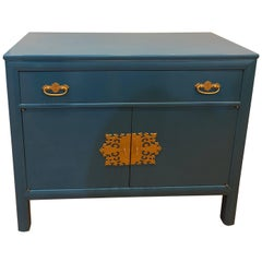 Century Asiatic Blue Lacquered Asian Inspired Cabinet