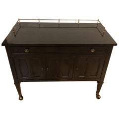Drexel Black Lacquered Wheeled Barcart or Server