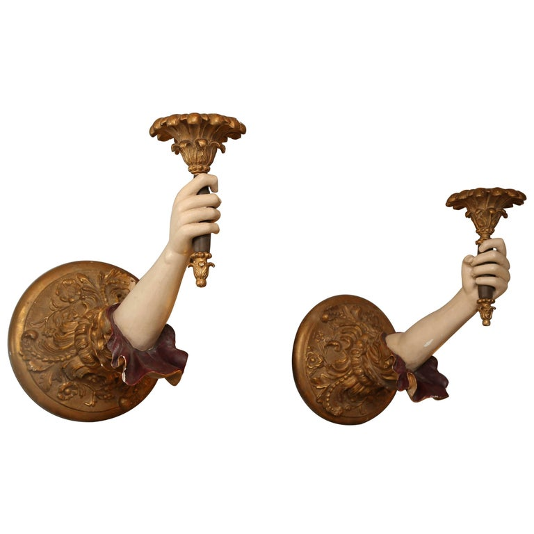 "Pair of Life-Size Carved Italian ""Arm"" Sconces For Sale"