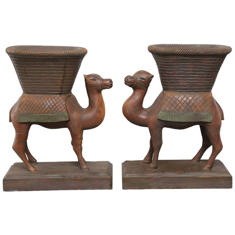 Superb Pair of Anglo-Indian Camel Form Jardinières 1