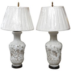 Pair of Vintage Chinese Vases Mounted as a Lamps