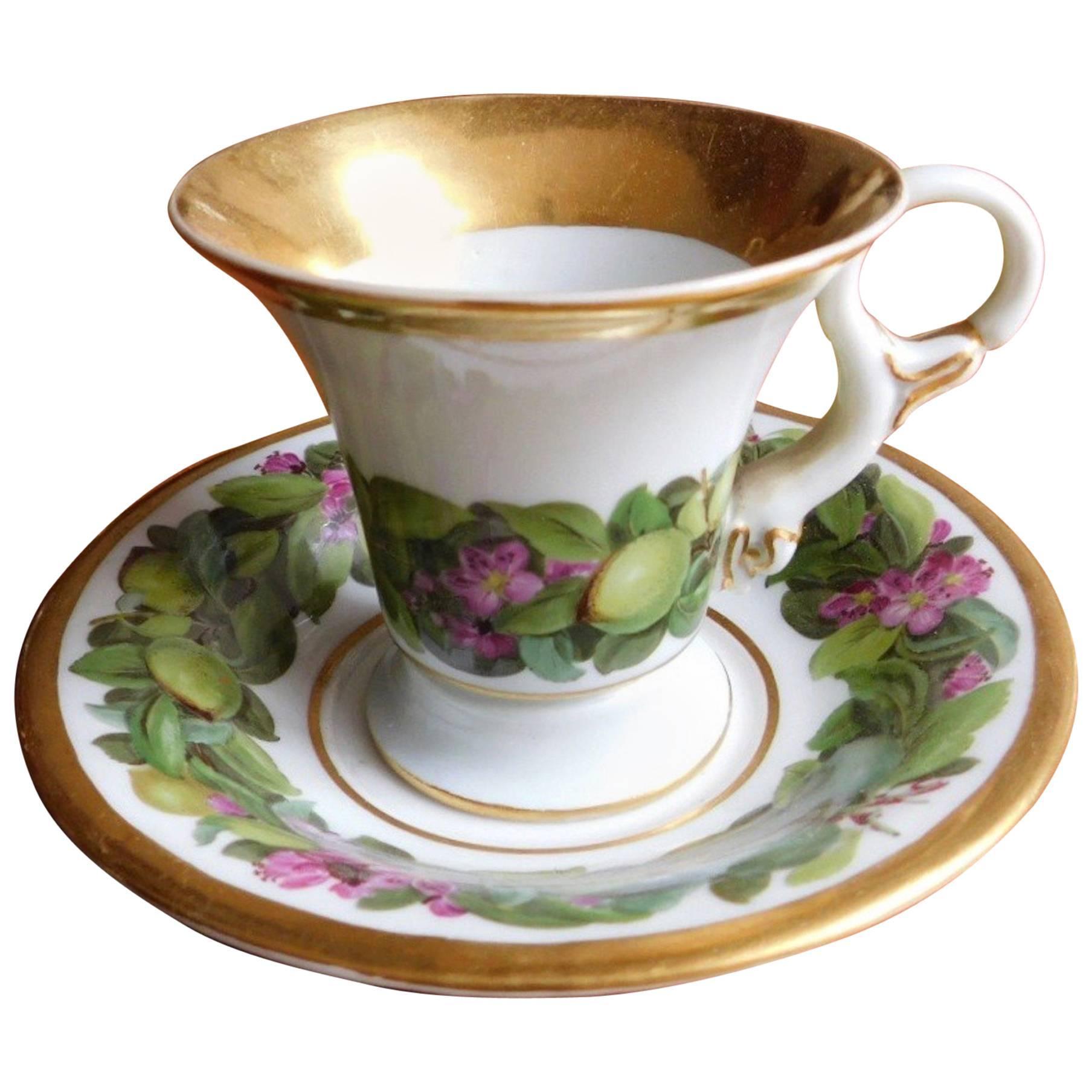 Antique 19th Century Meissen Porcelain Cup and Saucer