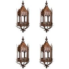 Set of Four Hexagonal French Louis XV Style Wrought Iron Hanging Lanterns