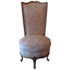 French 19th Century Gold Painted Boudoir Upholstered Chair with New Fabric