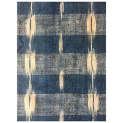 Antique Textile, Mid-18th Century French Home Spun Indigo Dyed, Linen Ikat #2