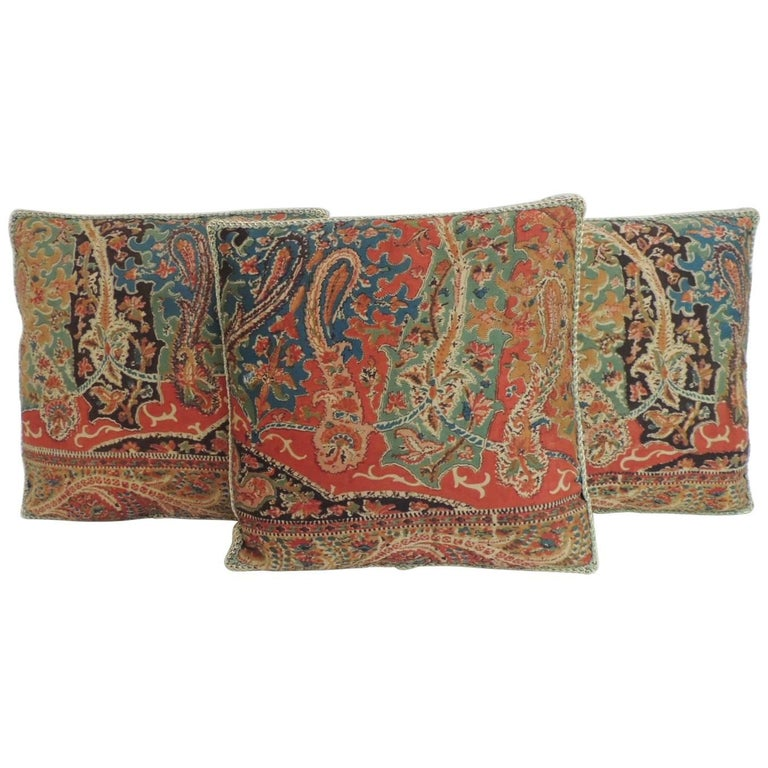 Petite Kashmir Paisley Indian Silk Red Textile Decorative Pillows Cool Indian Silk Decorative Pillows