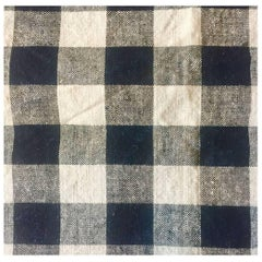 Antique Textile, Late 19th Century French Home Spun Black/White Check, Linen #4