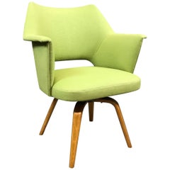 Mid-Century Modern Upholstered Swivel Armchair by Thonet