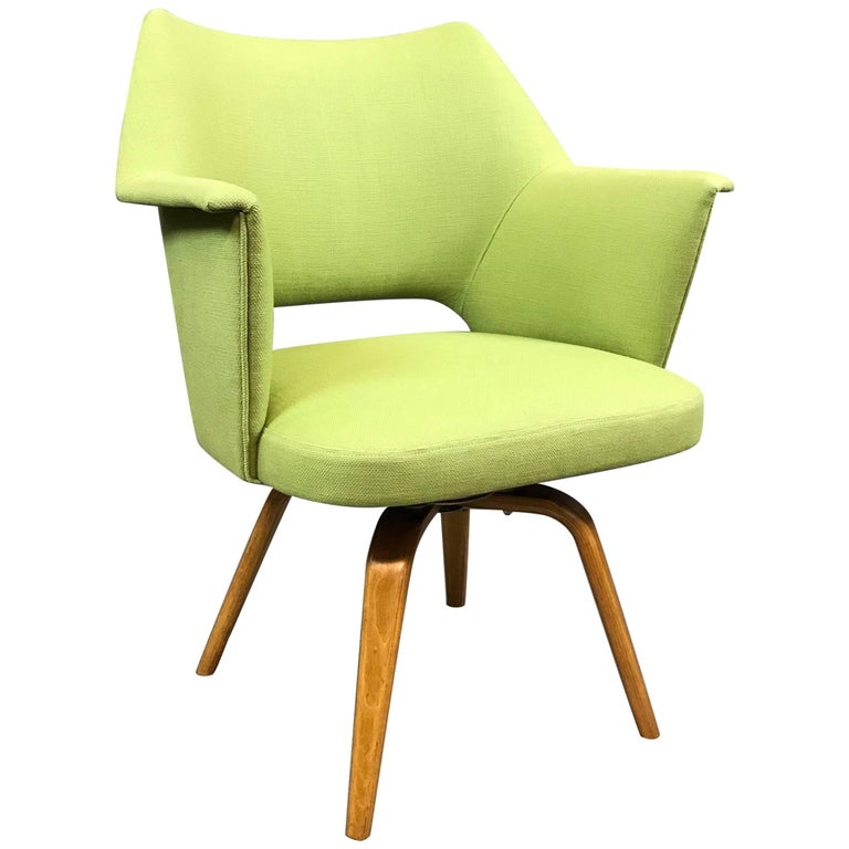 Mid-Century Modern Upholstered Swivel Armchair by Thonet For Sale