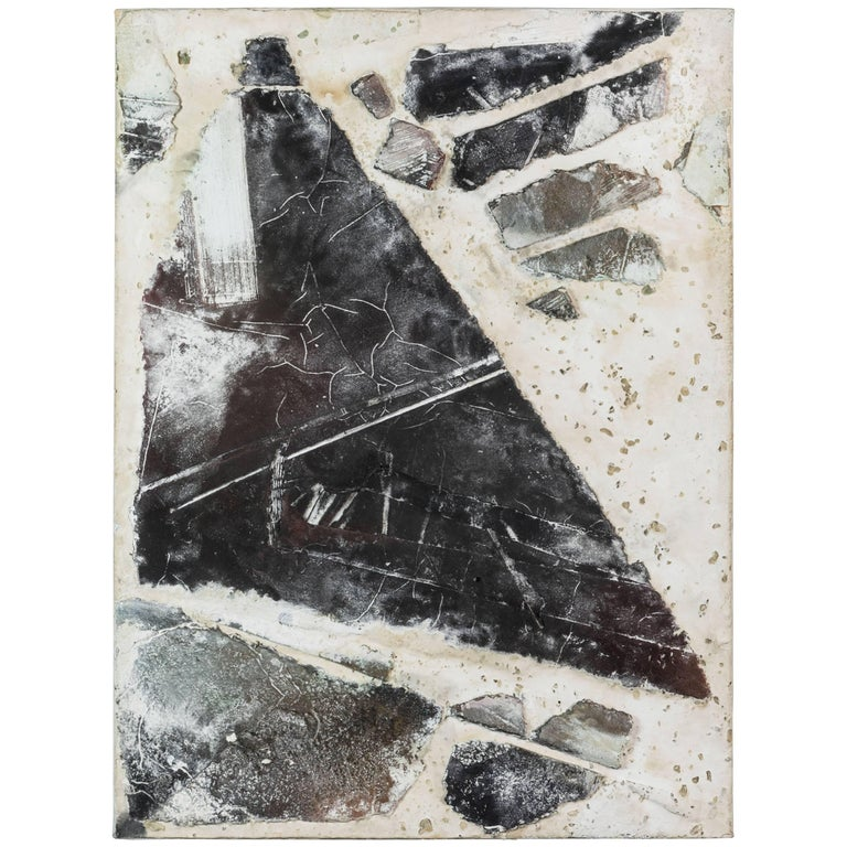 Textured Mixed-Media Abstract Painting, 1990s For Sale