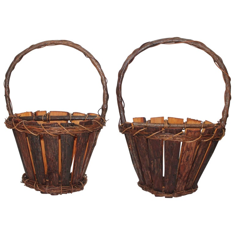Adirondack Wall Baskets, Pair For Sale