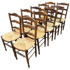 Farmhouse Kitchen Chairs, French Set of Ten, circa 1930