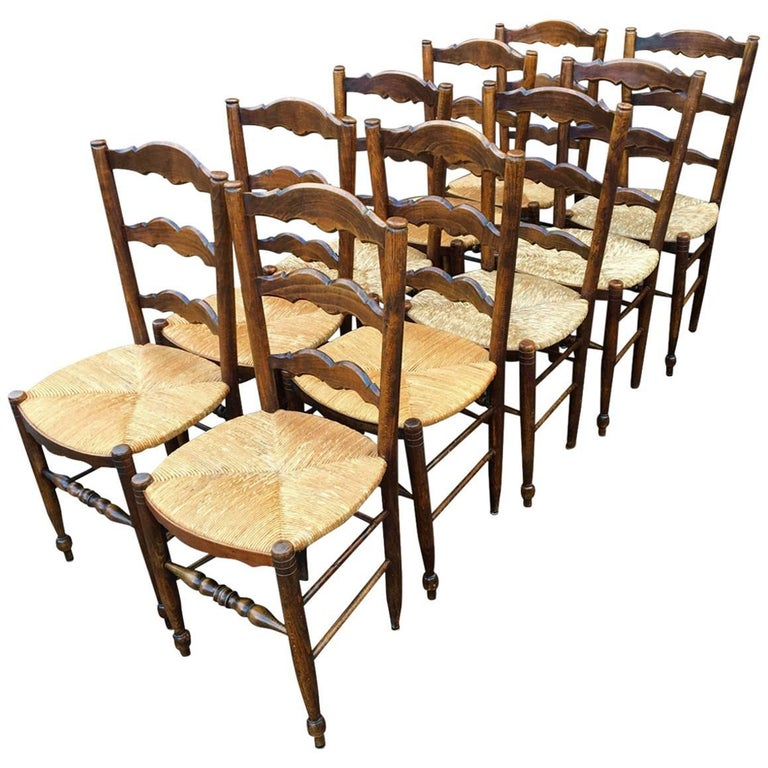 French Kitchen Chairs: Farmhouse Kitchen Chairs, French Set Of Ten, Circa 1930 At