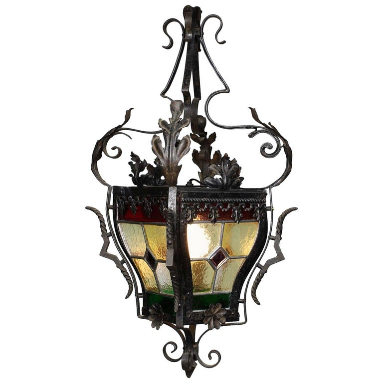 French Baroque Style Wrought-Iron Stained Glass Hall Lantern, 19th-20th Century
