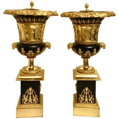 Pair of Empire Style Gilt Bronze Brule-Parfums in Manner of Thomire 19th Century