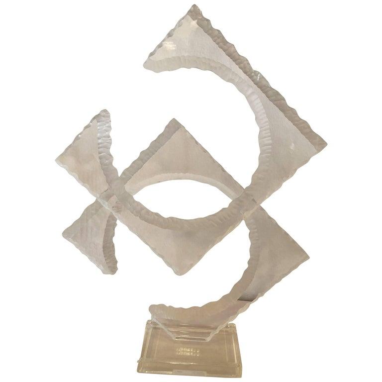 Van Teal Signed Two-Tier Lucite Statue Sculpture Vintage