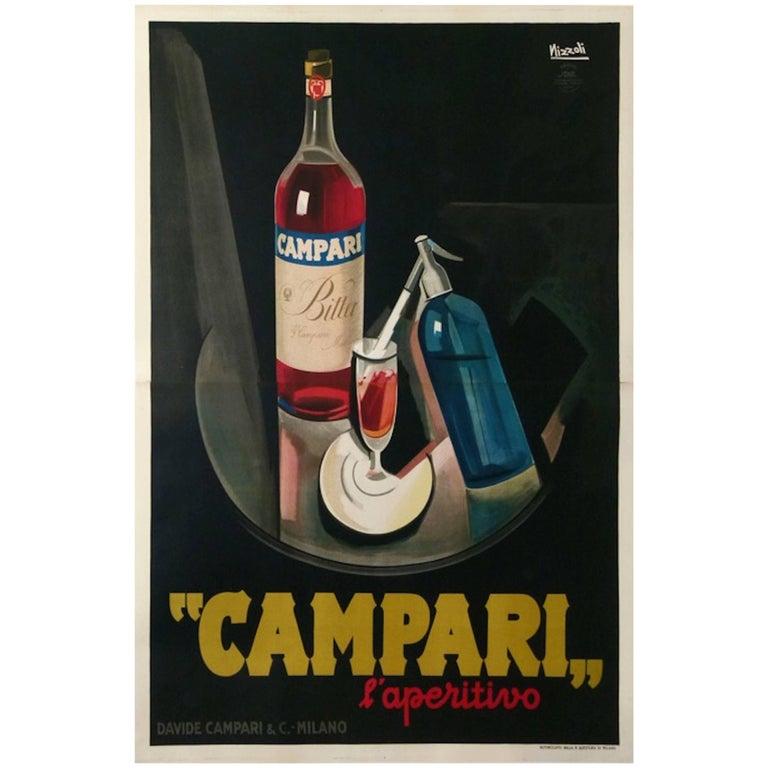 Original Vintage Poster Marcello Nizzoli Campari 1927 Linen Backed Lithograph For Sale