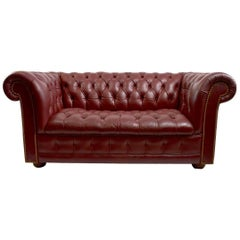Burgundy Leather Chesterfield Sofa Loveseat