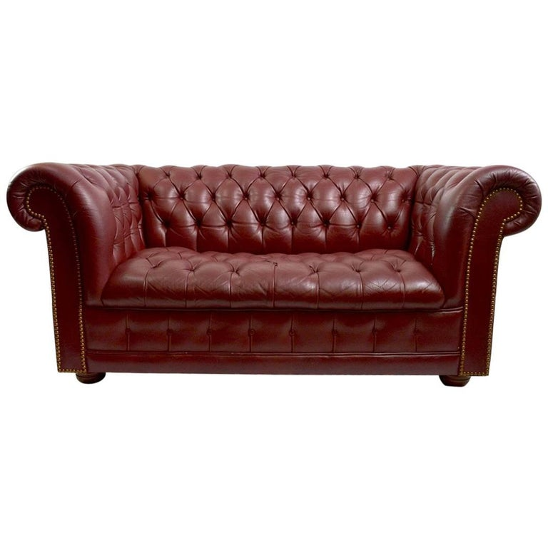 Burgundy Leather Chesterfield Sofa Loveseat At 1stdibs