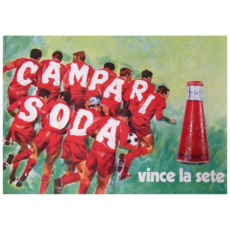 Original Vintage Poster Campari Soda Vince La Sete Football Soccer Pijoan For Sale