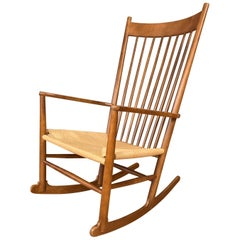 Vintage Hans Wegner J16 Beech Rocking Chair