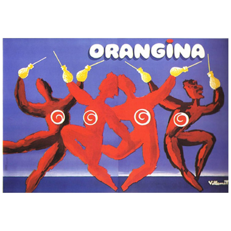 Original Vintage Poster Orangina Dance Bernard Villemot 1983 Oversize