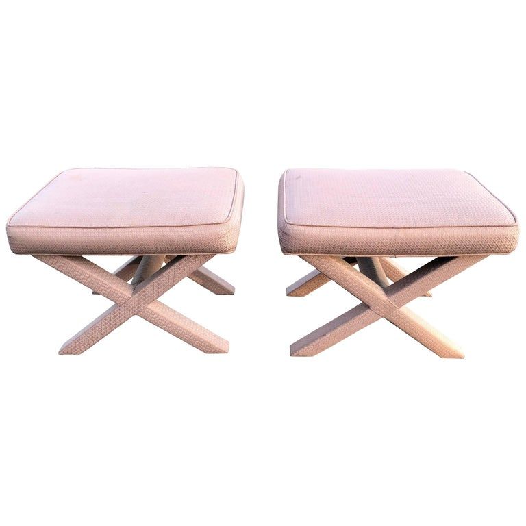 Pair of X-Base Stools or Ottomans in the Style of Billy Baldwin