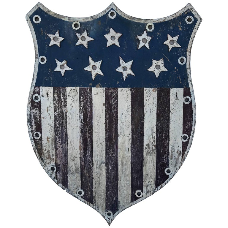 American Folk Art Flag Shield or Sign with Nine Stars