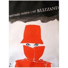 Original Vintage Poster Gruau Impermeable Moderne Blizzand Eyes Rene Gruau, 1964