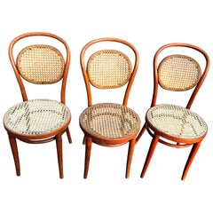 Set of Three Vintage Bentwood Thonet Style Chairs