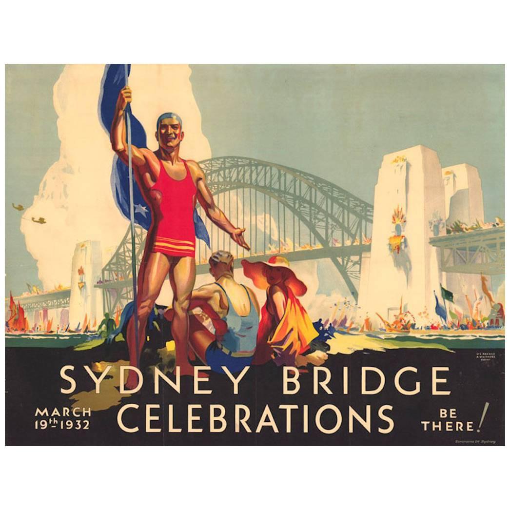 Original Vintage Poster Sydney Bridge Celebrations D Annand and D Whitmore, 1932