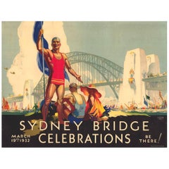 Original Vintage Poster Sydney Bridge Celebrations D Annand and D Whitmore, 1932