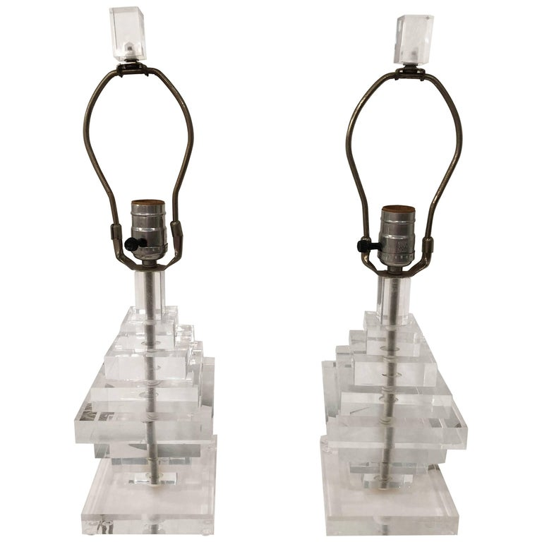 Pair of Vintage Lucite Table Lamps Geometric Stacked