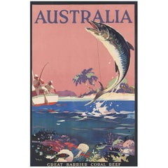 Original Vintage Poster Australia Great Barrier Coral Reef James Northfield 1935