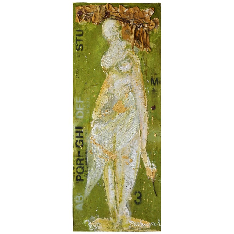 Expressionist Portrait of Lady on Green by Vladimir Prodanovich For Sale