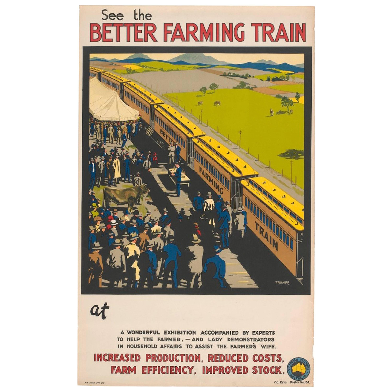 "Original Vintage Poster Australia Trompf 1924 ""See The Better Farming Train"""
