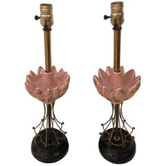 Pair of Art Deco Pink and Brass Table Lamps Vintage Hollywood Regency