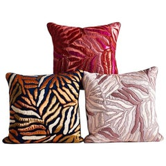 Hand Crafted Set of Appliqué Pillows Hand Embroidered Abstract Leaf Design