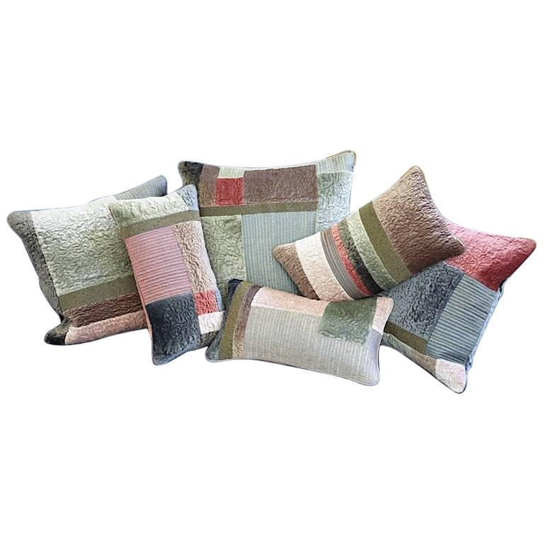 Hand Crafted Hand Embroidered Pillows Patchwork Beaded Quilted Silk Threads For Sale
