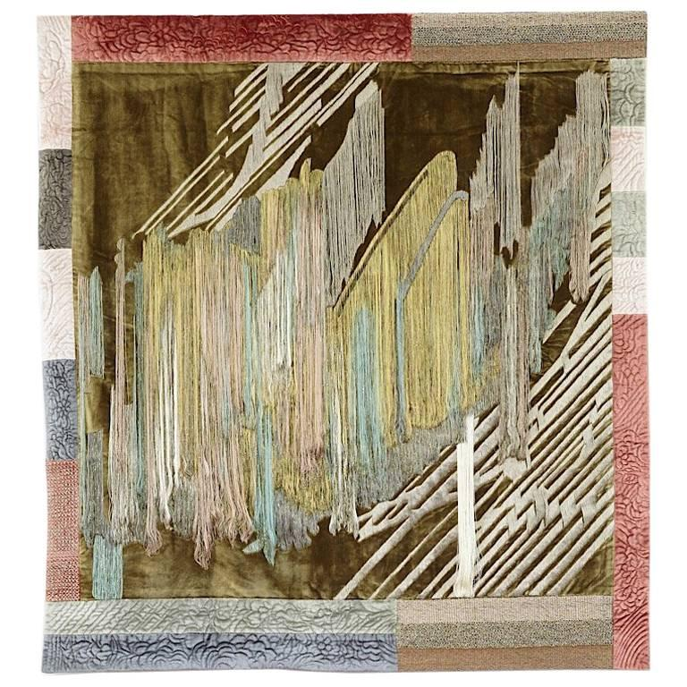 Hand Crafted Wall Hanging Fibre Art Textile Contemporary Tapestry Embroidered