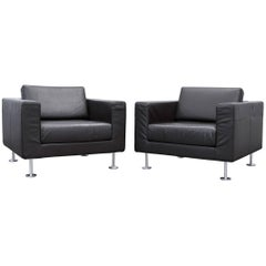 Vitra Park Armchair Set of Two Designer Leather Brown Aluminium Lounge