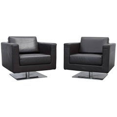 Vitra Park Swivel Armchair Set of Two Designer Leather Brown Aluminium Lounge