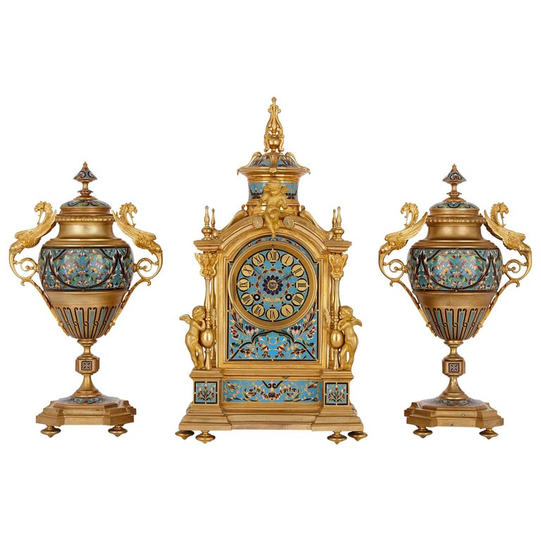 Antique French Neoclassical Style Ormolu and Cloisonne Enamel Clock Set For Sale