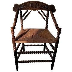 Early 20th Century Dutch Rural Farmers Chair
