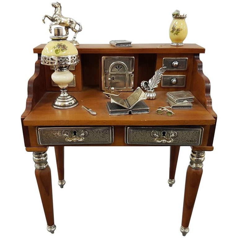 20th Century Sterling Silver Writing Desk Miniature