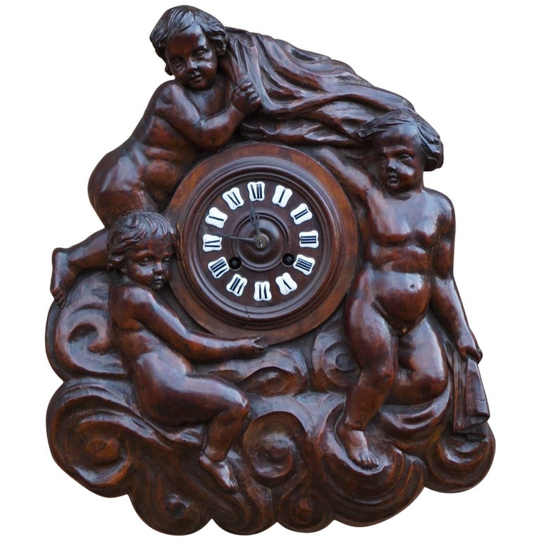 Antique Hand-Carved French Renaissance Revival Wall Clock W. Putto Sculptures