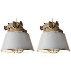 Huge Czech Industrial Grey Enamel Pendant Lights