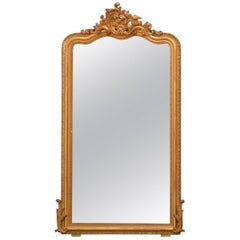 Slim French Gilded Wall Mirror