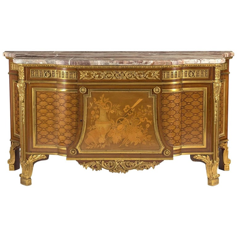 Marble Topped Marquetry Commode After Riesener
