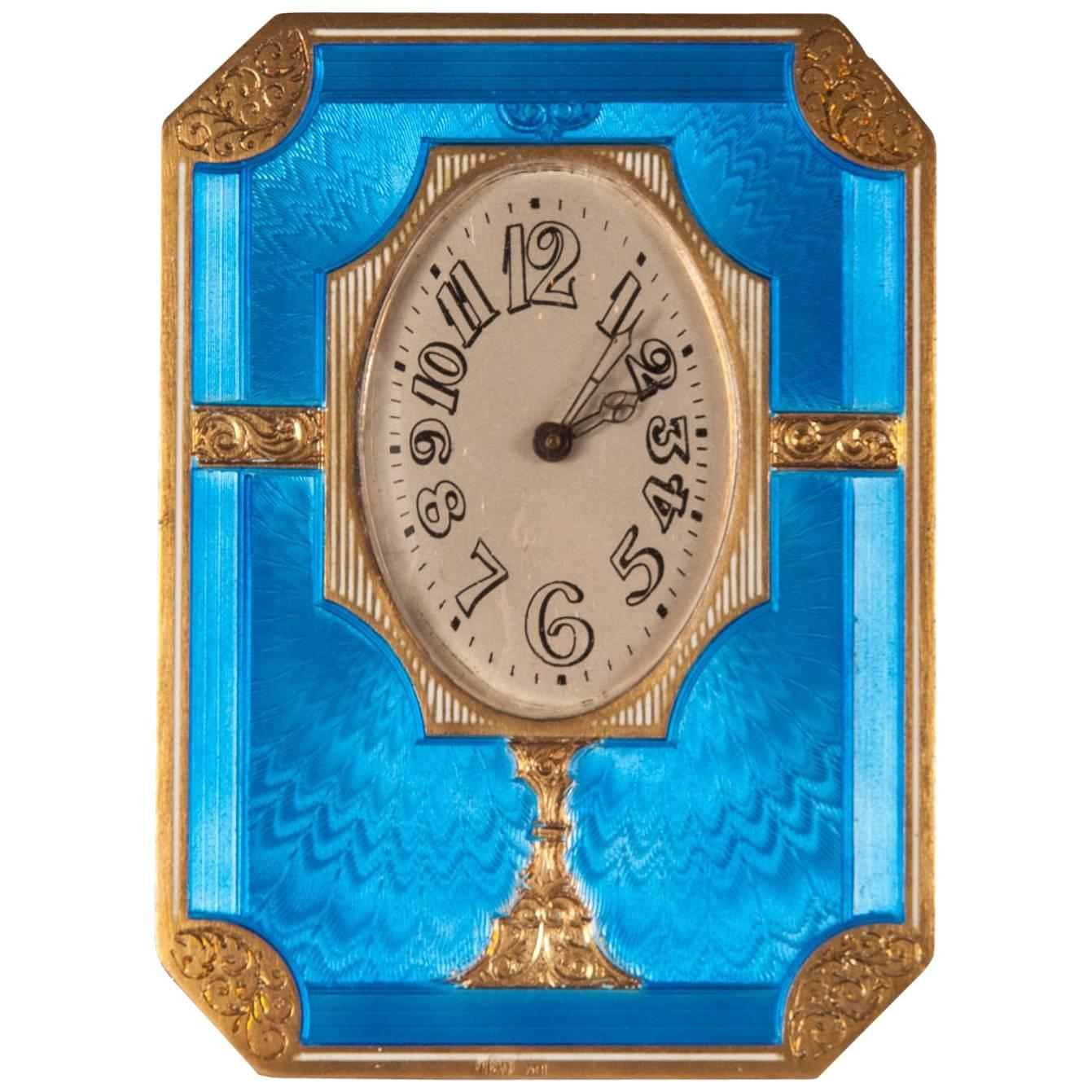 Antique Russian Silver Gilt and Enamel Table Clock
